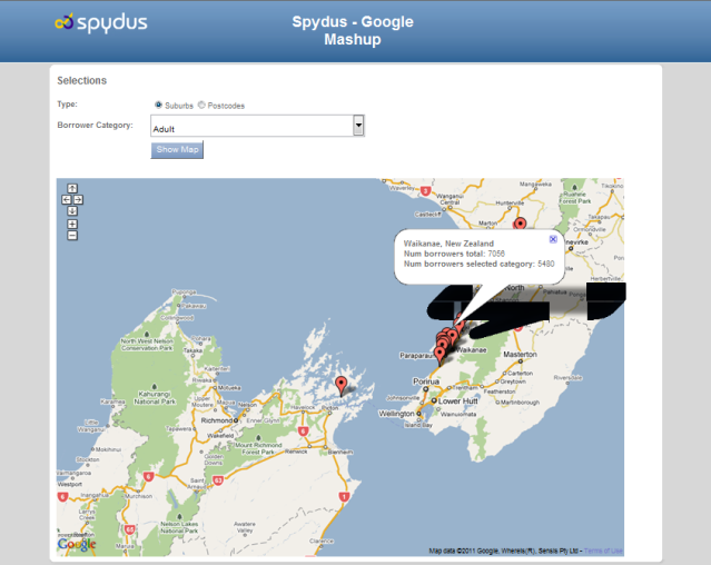 Spydus mapping mashup showing borrowers