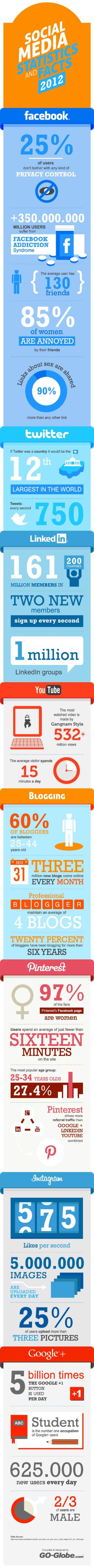 Social Media Statistics for 2012